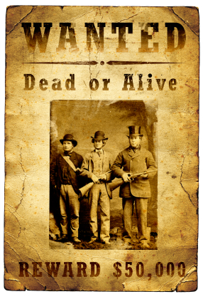Wanted Poster Outlaw Gang Wild West