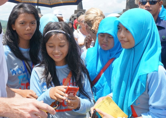 Indonesian school children practicing English and being graded by me. © 2014 Ralph Grizzle