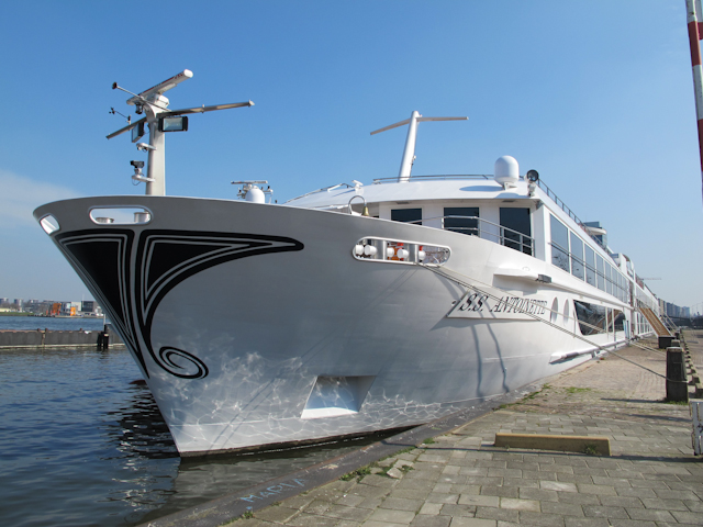 Uniworld's S.S Antoinette, shown here in Amsterdam, will be getting a sister this year. S.S. Catherine will be christened March 26, 2014 in Lyon, France. Photo ©  Aaron Saunders
