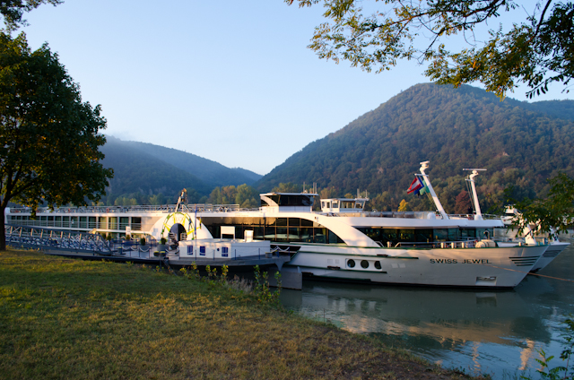 Tauck's Swiss Jewel docked in Durnstein, Austria. Tauck's new ms Inspire will be significantly larger, yet will carry only 12 additional guests.  Photo ©  Aaron Saunders