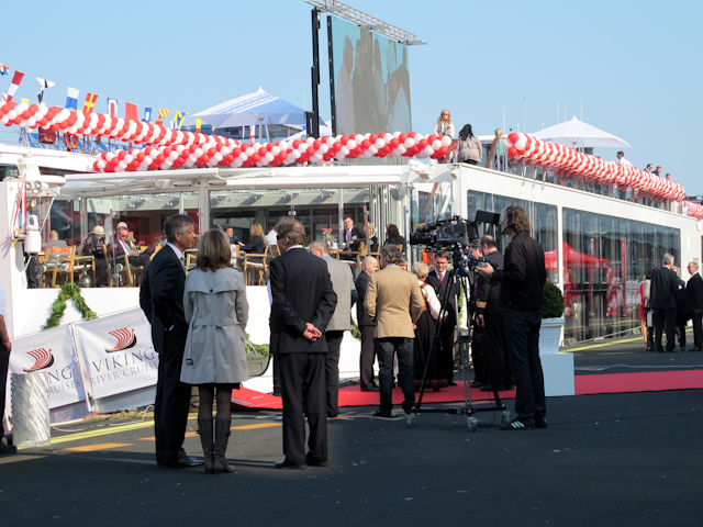 Onlookers gathered in March 2012 during the christening of the first four Viking Longships at the Passenger Terminal Amsterdam. In March, the line will christen an astonishing 16 vessels. Photo © Aaron Saunders