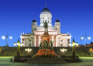 Lutheran Cathedral/Senate Square at night in Helsinki, Finland