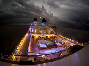 A dark and stormy night as Seabourn Quest sails from Buenos Aires to Montevideo. An omen of things to come as we begin our Antarctic adventure? © 2014 Chris Stanley