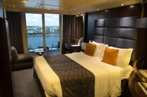 My home for the next seven days: one of MSC Divina's 1,125 balcony staterooms. Photo © 2015 Aaron Saunders