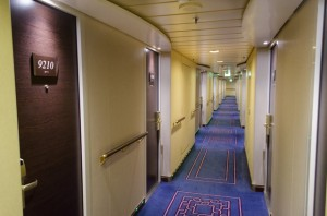 MSC Divina's passenger corridors are attractive and well-lit. Photo © 2015 Aaron Saunders