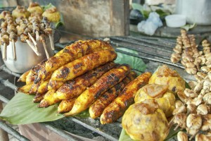 Fried Bananas in an Iquitos Market, Peru.