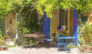 Cafe on Sidewalk in French Village, Provence