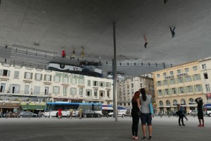 Reflecting on Marseille. You'll find this interesting ceiling-mounted mirror in Marseille's Old Port. @ 2014 Avid Travel Media Inc.