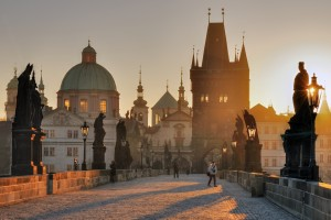 The Charles Bridge At Sunset