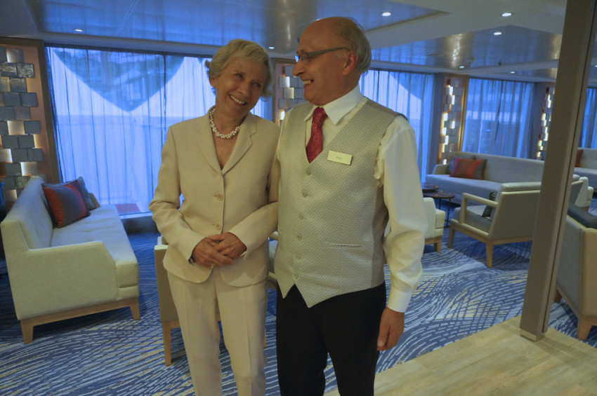 Torstein Hagen's wife reminisces with an employee who worked with Royal Viking Line, where Hagen was CEO between 1980 and 1984. © 2014 Ralph Grizzle
