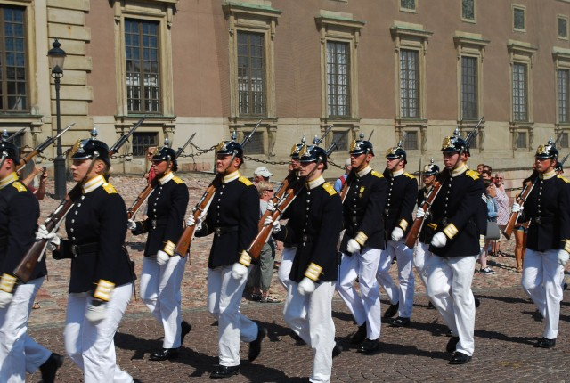 Changing of the guard at the Swedish Royal Palace in historic Gamla Stan, Stockholm