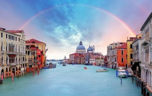 Rainbow Over The Grand Canal In Venice
