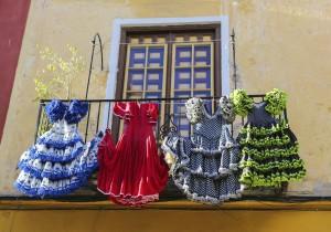 Flamenco costumes drying in the Spanish sun