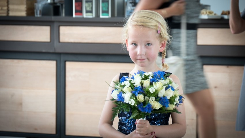 Her bouquet ready, the flower girl awaits Princess Margriet. © 2015 Ralph Grizzle