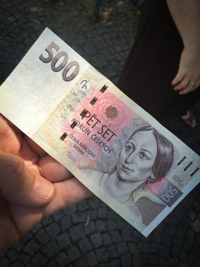 Tauck's tour directors gave us 500 Czech Koruna for lunch (about US$20). © 2015 Ralph Grizzle