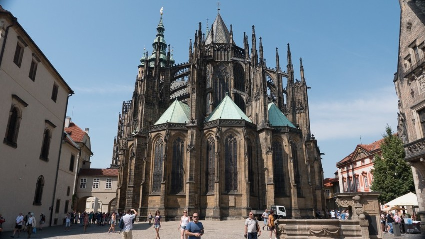 The Metropolitan Cathedral of Saints Vitus, Wenceslaus and Adalbert, a Roman Catholic cathedral that is the seat of the Archbishop of Prague. Up to 1997, the cathedral was dedicated only to Saint Vitus and is still commonly named only as St. Vitus Cathedral. © 2015 Ralph Grizzle