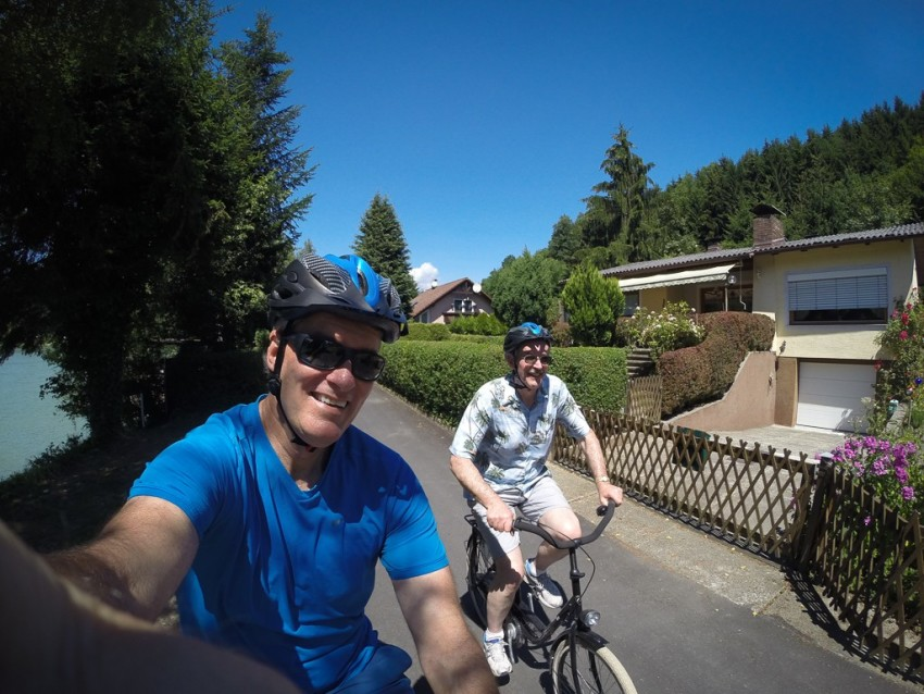 Pete and I cycling 70 kilometers today. © 2015 Ralph Grizzle