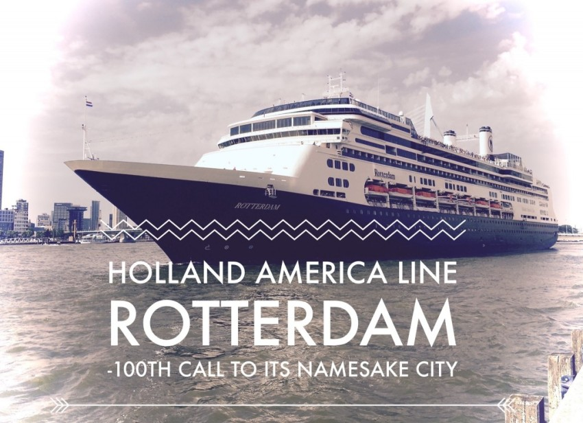 Holland America Line's Rotterdam departing its namesake city following its 100th call. © 2015 Ralph Grizzle