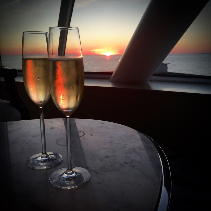 Champagne for two as the sun sets on the Baltic Sea. © 2015 Ralph Grizzle