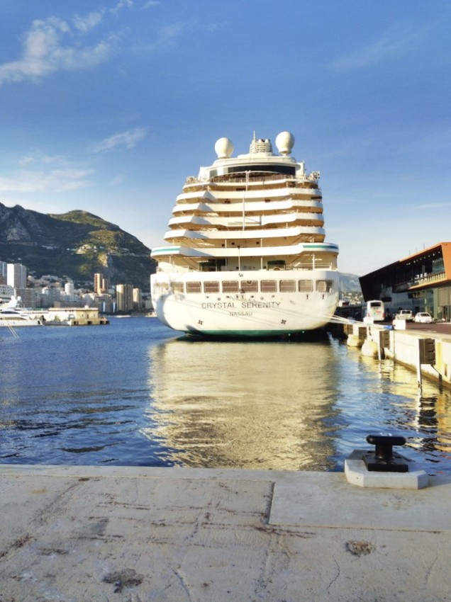 Bathed in the evening sunlight while docked in Monte Carlo, Crystal Serenity. Step inside for world-class cuisine. © 2014 Ralph Grizzle