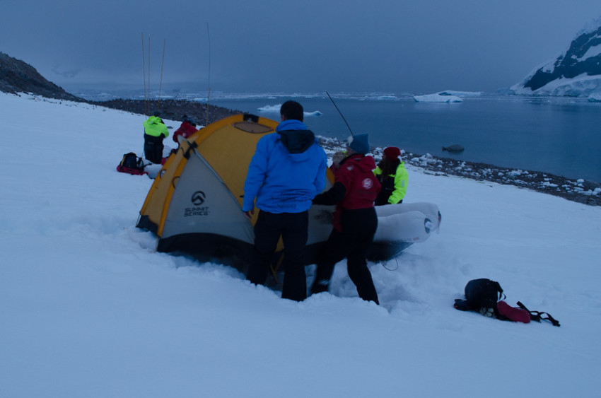 It's warm enough in Antarctica during their summer months (the Northern Hemisphere's winter) that camping in Antarctica is possible. Photo © 2015 Aaron Saunders