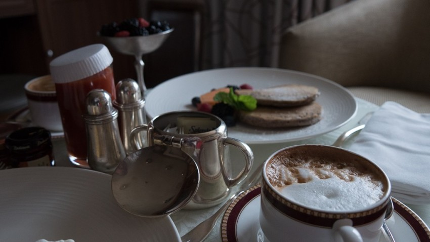 Cappuccino and pancakes for me. © 2015 Ralph Grizzle