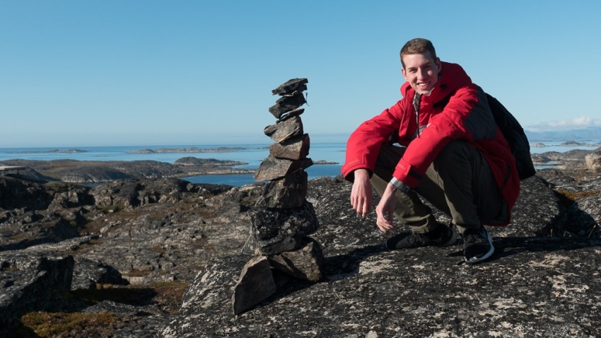 My son Alex with his stacked rocks. © 2015 Ralph Grizzle