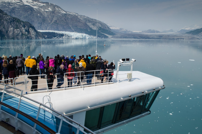 Guests aboard Princess Cruises' Star Princess watch as the ship enters Glacier Bay National Park. Photo © 2015 Aaron Saunders