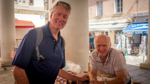 With the 'honey man' in Ile Rousse, Corsica.