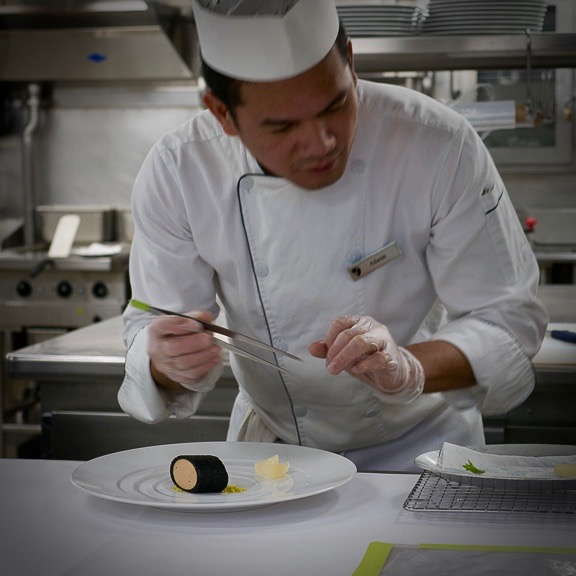 "Precision cooking and placement with ""tools of refinement"" such as tweezers instead of tongs. New concepts being brought to Seabourn by Thomas Keller."