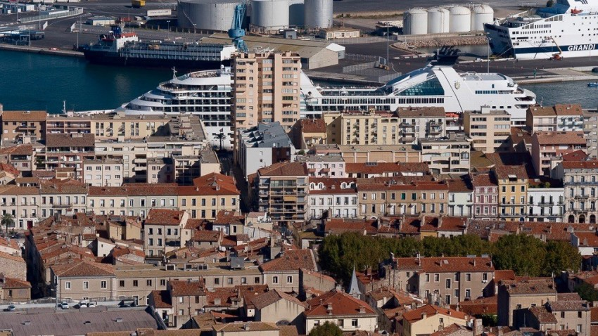 Seabourn Odyssey docked in downtown Sete, France.
