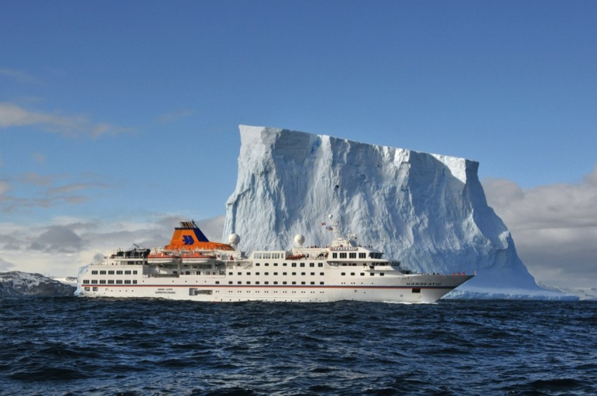 Hapag-Lloyd Cruises' 5-star expedition vessel HANSEATIC cruises both the Arctic and Antarctica.