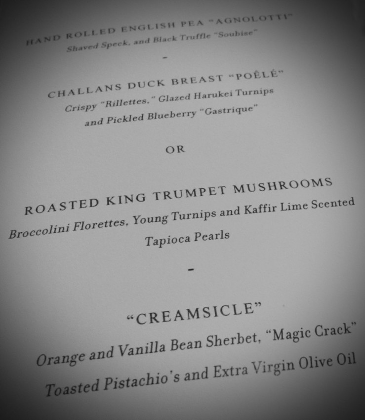 Thomas Keller menu in the main dining room tonight.