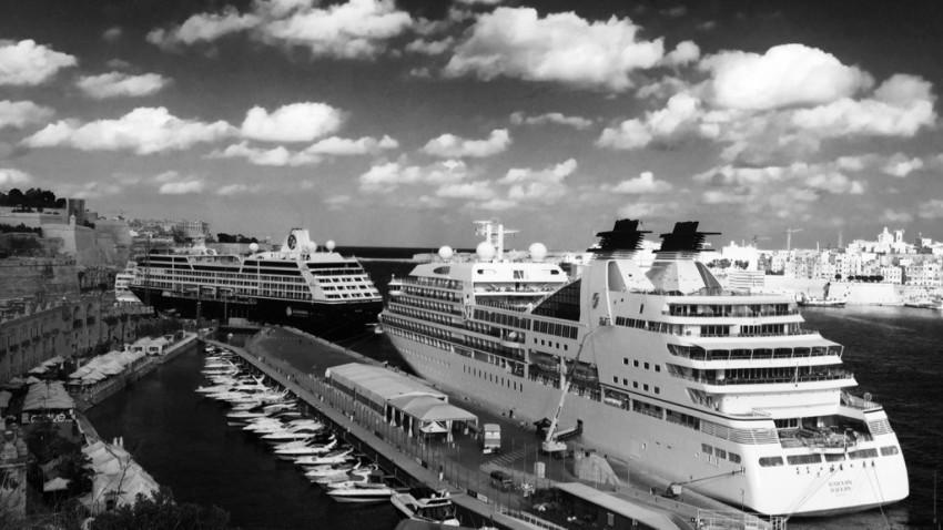 Seabourn Sojourn docked in Valletta, Malta.