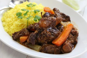 Oxtail stew with yellow rice