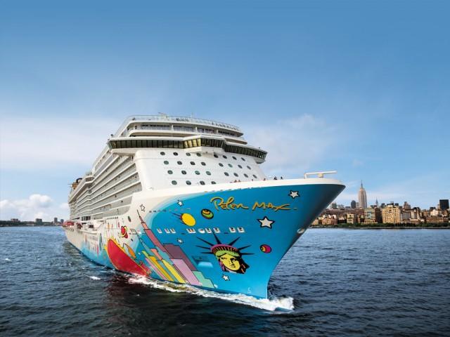 Norwegian Breakaway sails from New York's Manhattan Cruise Terminal for Bermuda.