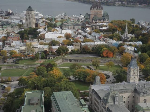Quebec City's old town as autumn colors develop