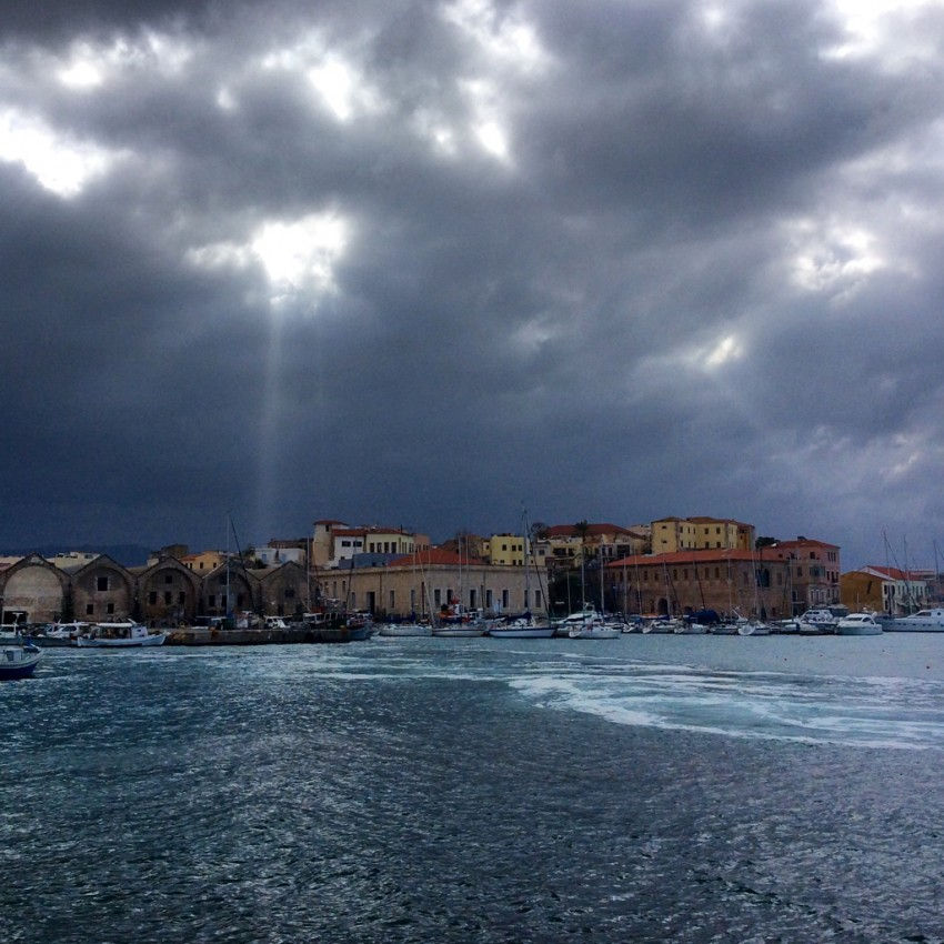 Storm clouds give way to sunlight in Chania on the island of Crete.