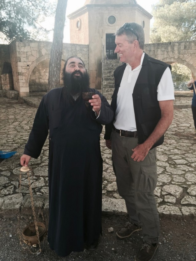 "A delightful monk welcomes us at Arkadi Monastery, a place that played an important role in the Cretan resistance to the Ottoman rule. ""When are you from?"" he asked. America, I responded. ""Do you like RoboCop?"" I was surprised by his question but answered, ""Yes, I do."" ""Me too,"" he said."