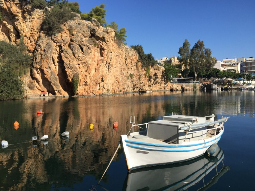 The small lagoon, known as Lake Voulismeni, was beautiful on the morning we visited Agios Nikolaus on the island of Crete.