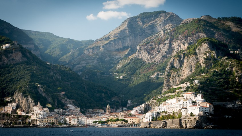 Amalfi was absolutely stunning from the perspective of Seabourn Sojourn. It was equally as beautiful once we arrived ashore by tender. My son and I walked up the hill above the buildings to the right in the photo.