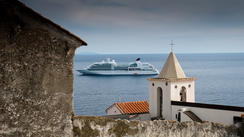 Seabourn Sojourn anchored in Amalfi.