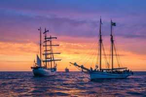 Ships on the Baltic Sea off the coast of Warnemünde