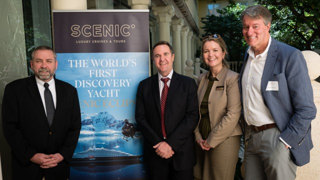 March 11, 2016, presentation featuring the new Scenic Eclipse. Pictured with me from left: Scenic's Joe Maloney, Glen Moroney & Anna Wolfsteiner. I'm the tall one.