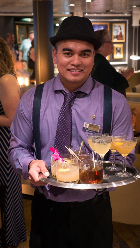 A new cocktail menu, such as a twist on the traditional Manhattan, debuts on Eurodam and is destined for Koningsdam.
