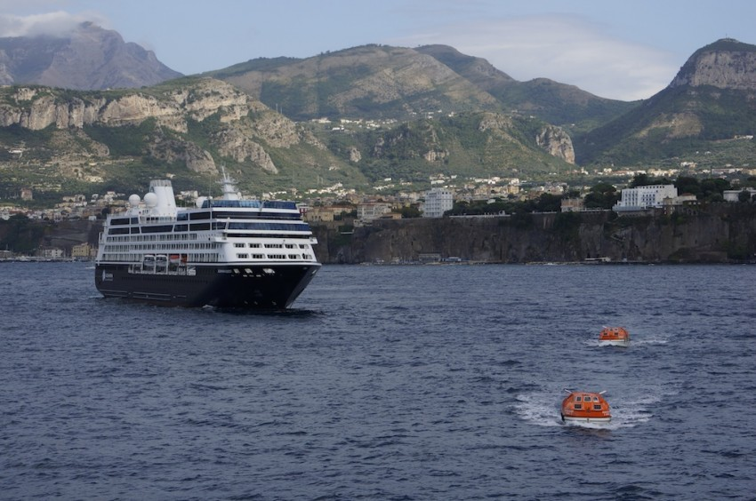 A great example of an Upper-Premium Ship: Azamara Quest in Sorrento, Italy.