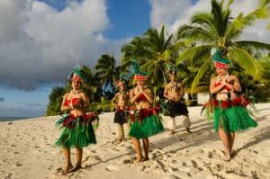 Performers on the beach of Rarotonga