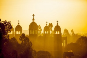 Sunrise over a cathedral in Addis Ababa