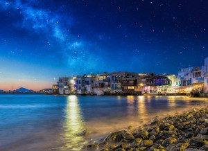 The island of Mykonos at sunset