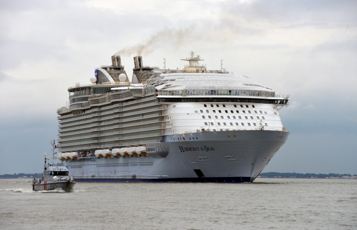 Harmony of the Seas, shown here on her sea trials off the coast of France